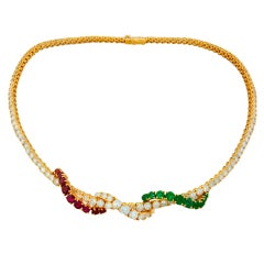 ASPREY Diamond Emerald Spinel Yellow Gold Necklace