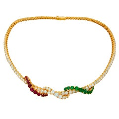 ASPREY Yellow Gold Necklace with Diamond Emerald and Red Spinel