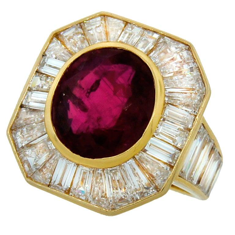 VAN CLEEF & ARPELS 5.66-ct Burmese Ruby Diamond Gold Ring For Sale