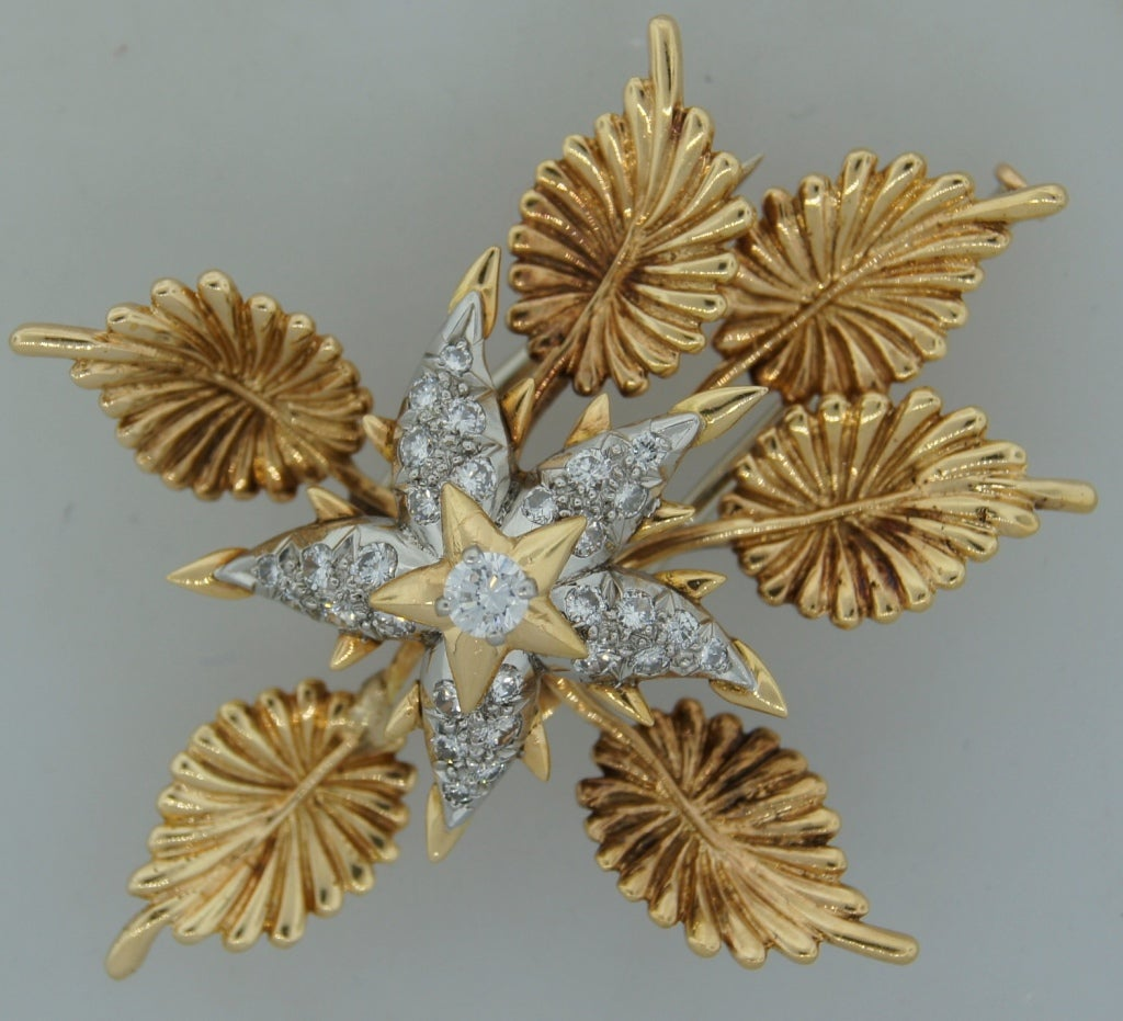 TIFFANY &Co./ SCHLUMBERGER Diamond Platinum & Gold Floral Brooch 2