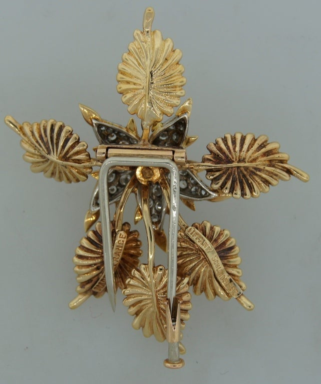 TIFFANY &Co./ SCHLUMBERGER Diamond Platinum & Gold Floral Brooch 3