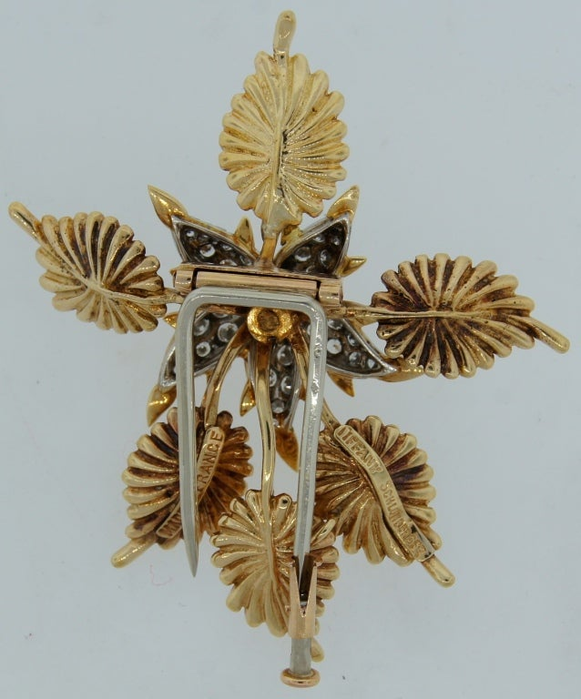 TIFFANY &Co./ SCHLUMBERGER Diamond Platinum & Gold Floral Brooch 4