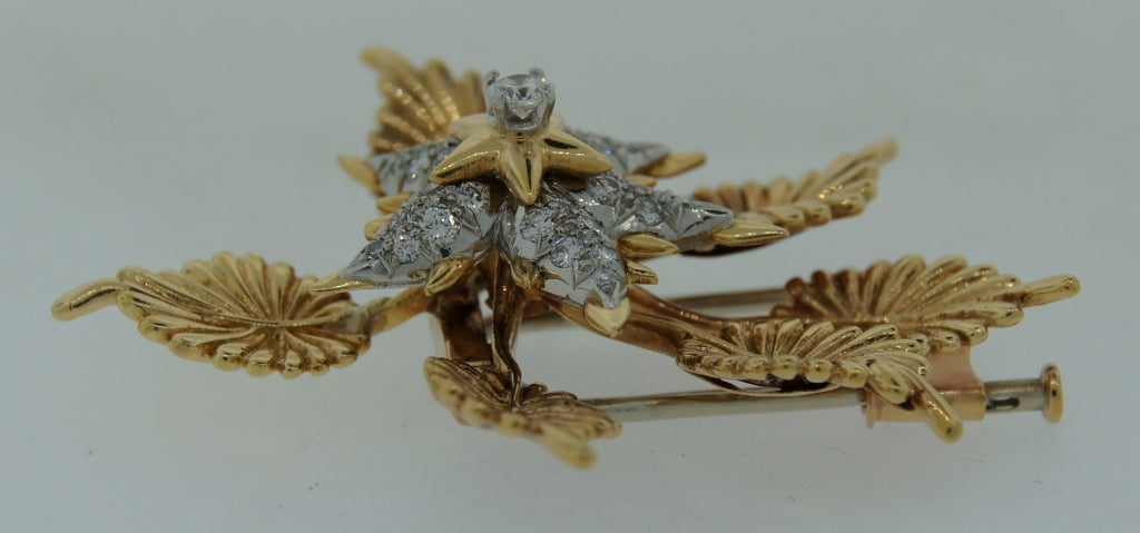 TIFFANY &Co./ SCHLUMBERGER Diamond Platinum & Gold Floral Brooch 5