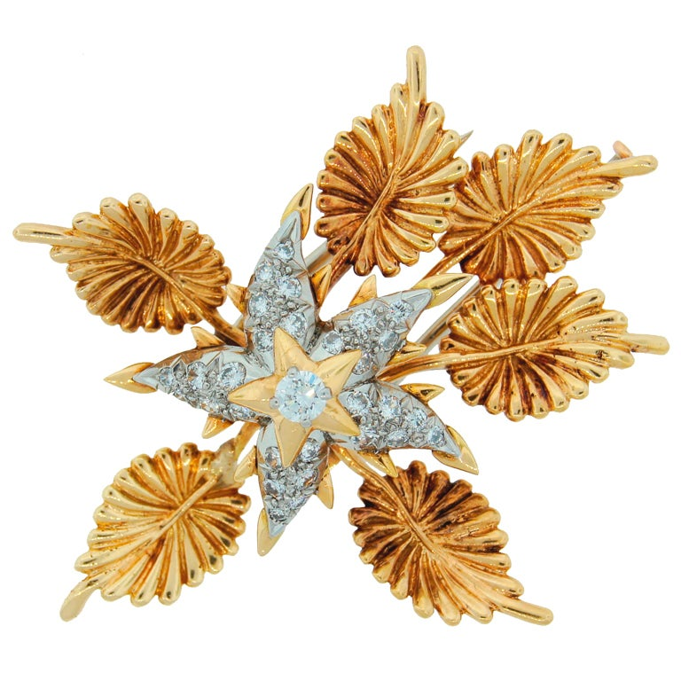 TIFFANY &Co./ SCHLUMBERGER Diamond Platinum & Gold Floral Brooch