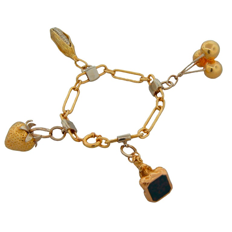 CARTIER Bloodstone & Two-Tone Gold Charm Bracelet c.1970s