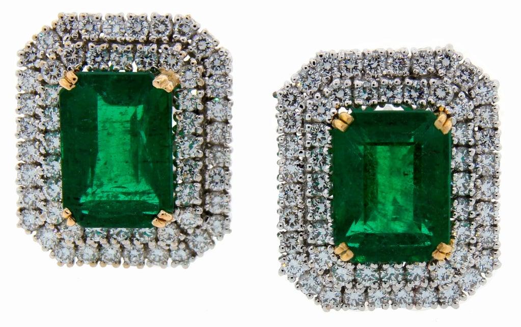 Emerald (AGL Certificate) Diamond & Platinum Earrings 2