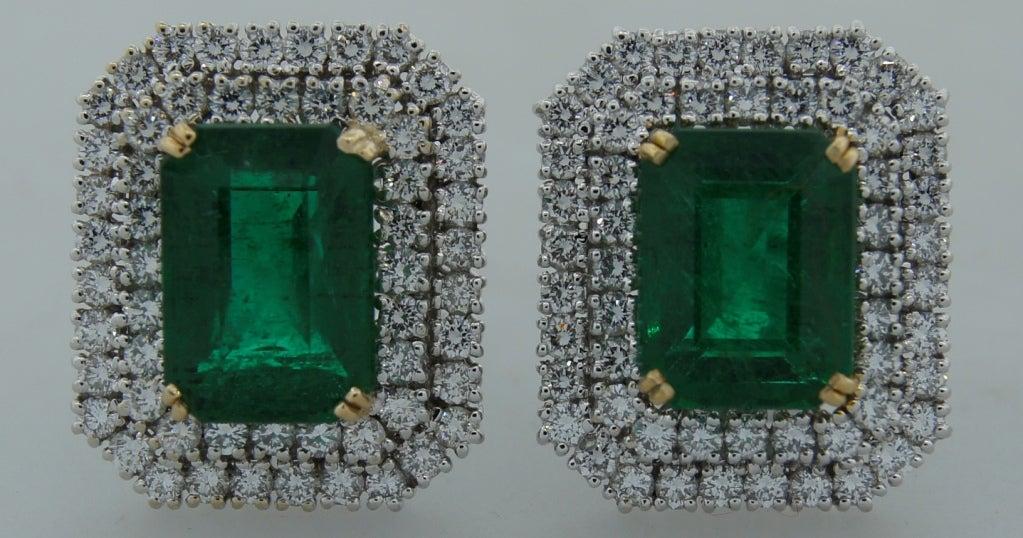 Emerald (AGL Certificate) Diamond & Platinum Earrings 3