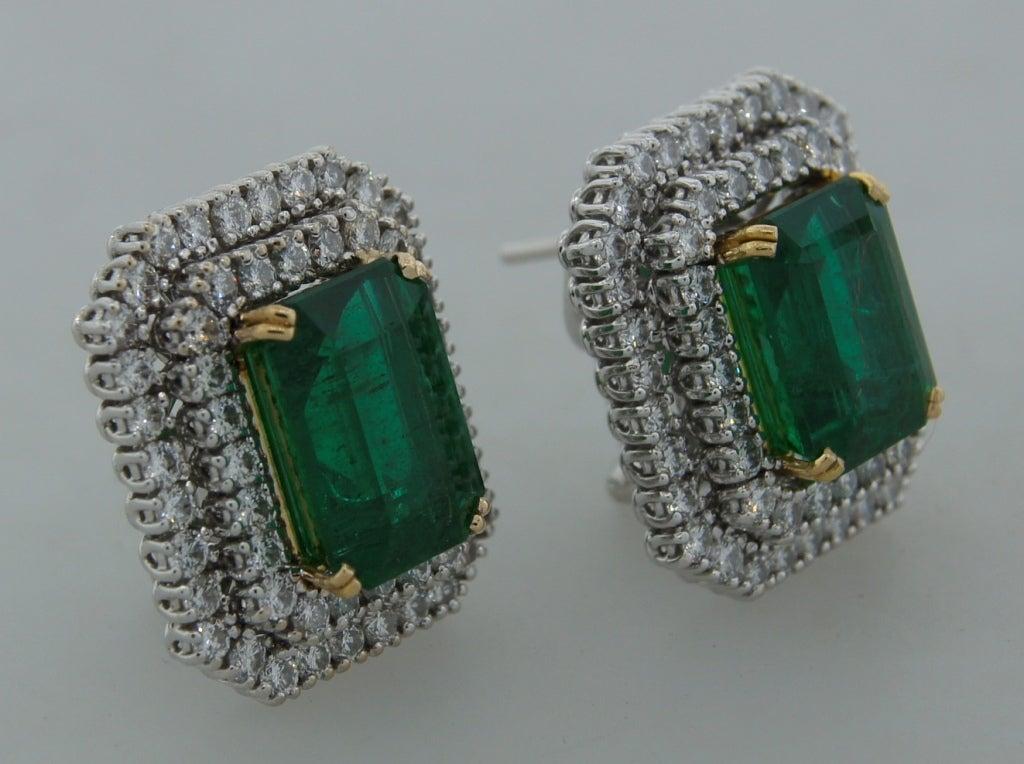 Emerald (AGL Certificate) Diamond & Platinum Earrings 4