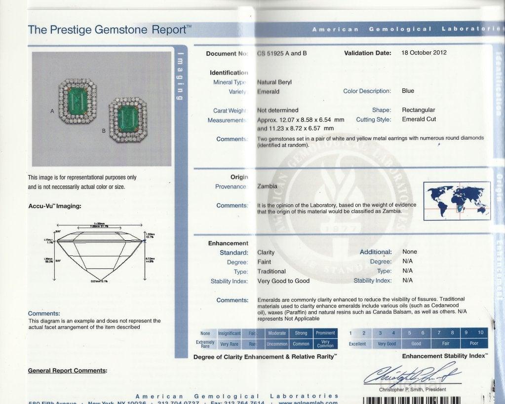 Emerald (AGL Certificate) Diamond & Platinum Earrings 7