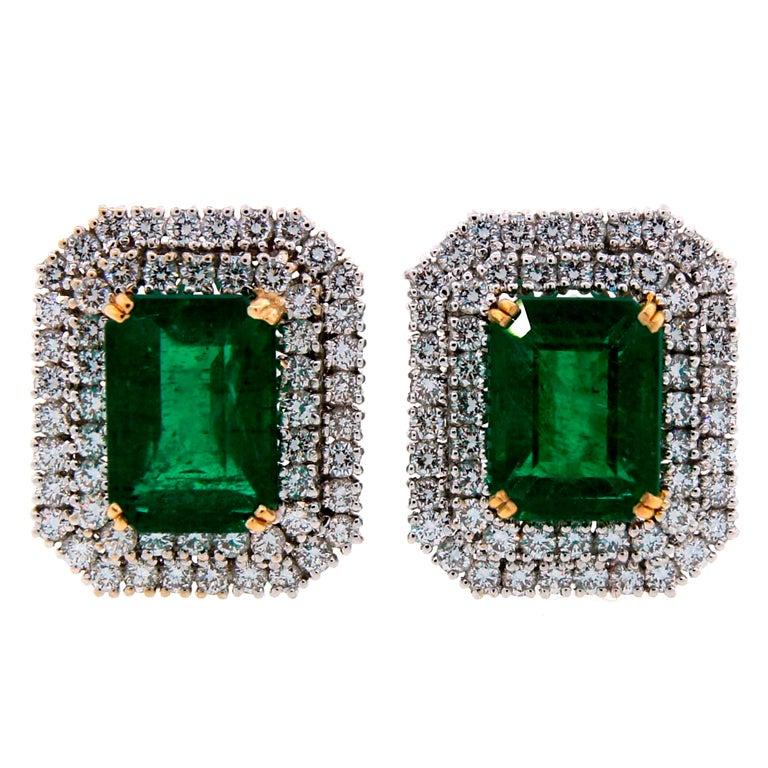 Emerald (AGL Certificate) Diamond & Platinum Earrings 1