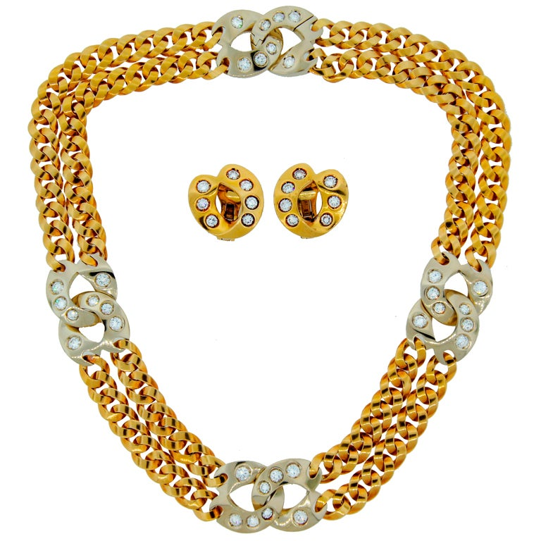 Pomellato Diamond 2-tone Gold Double Chain Necklace and Earrings Set