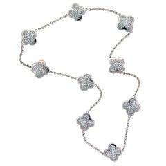Van Cleef & Arpels Diamond & White Gold Alhambra Necklace