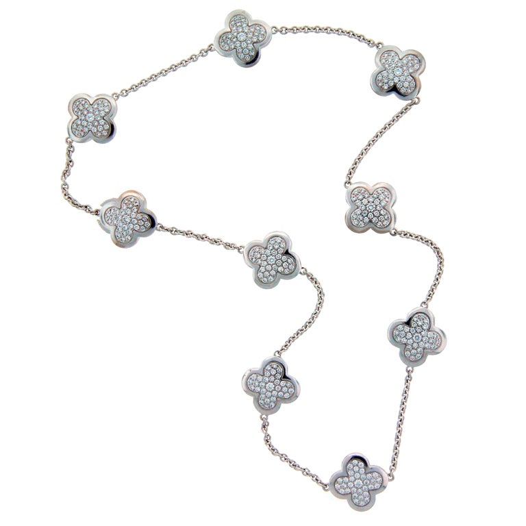 Van Cleef And Arpels Diamond And White Gold Alhambra