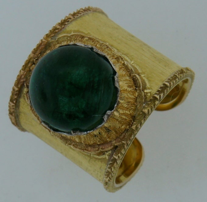 Mario Buccellati 7.51ct Cabochon Emerald & Yellow Gold Band Ring 2