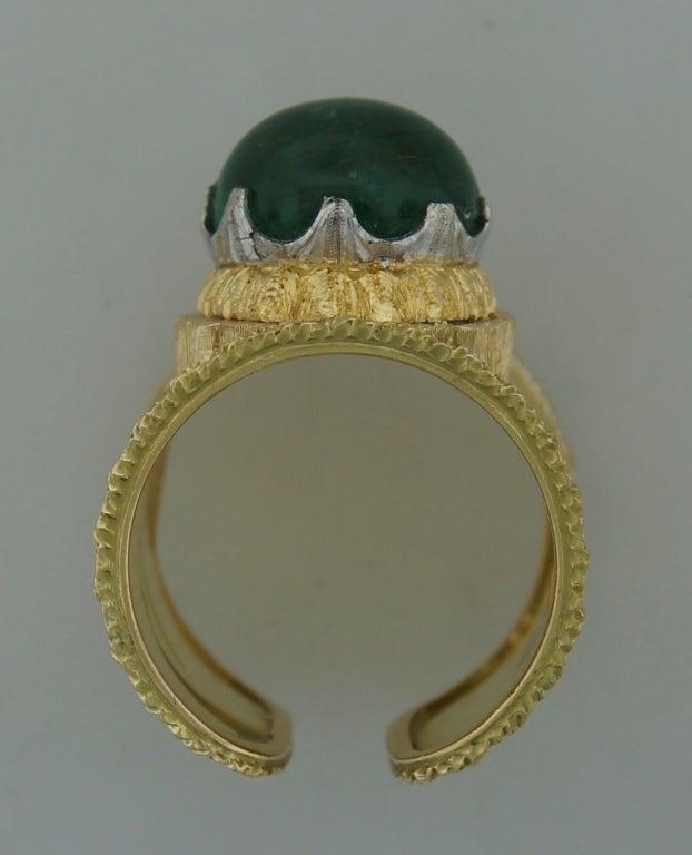 Mario Buccellati 7.51ct Cabochon Emerald & Yellow Gold Band Ring 4