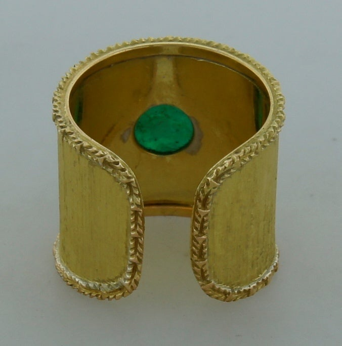 Mario Buccellati 7.51ct Cabochon Emerald & Yellow Gold Band Ring 5