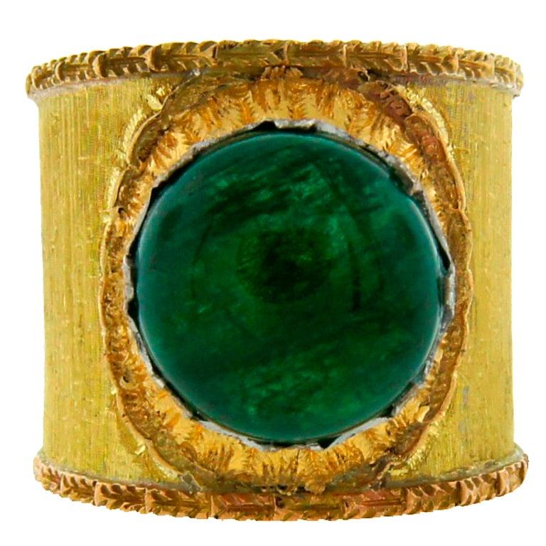 Mario Buccellati 7.51ct Cabochon Emerald & Yellow Gold Band Ring 1