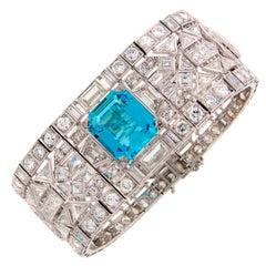 Wide 1960's Aquamarine Diamond & Platinum Bracelet