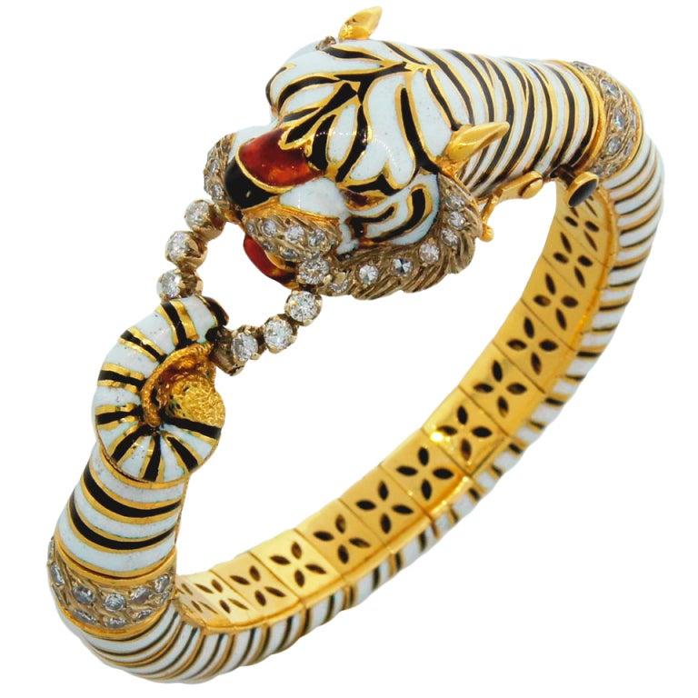 FRASCAROLO Diamond Enamel & Yellow Gold Tiger Bangle Bracelet For Sale