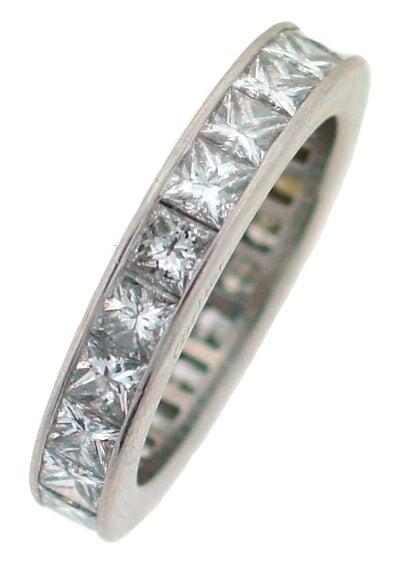 CARTIER Princess Cut Diamond  Platinum Eternity Wedding Band image 2