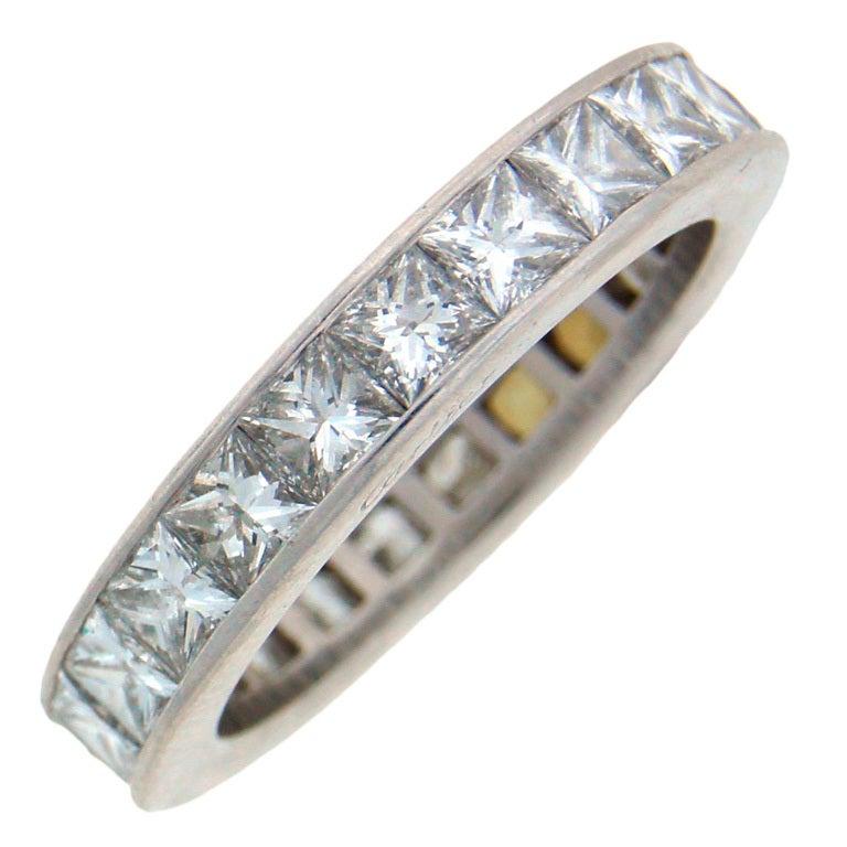CARTIER Princess Cut Diamond  Platinum Eternity Wedding Band