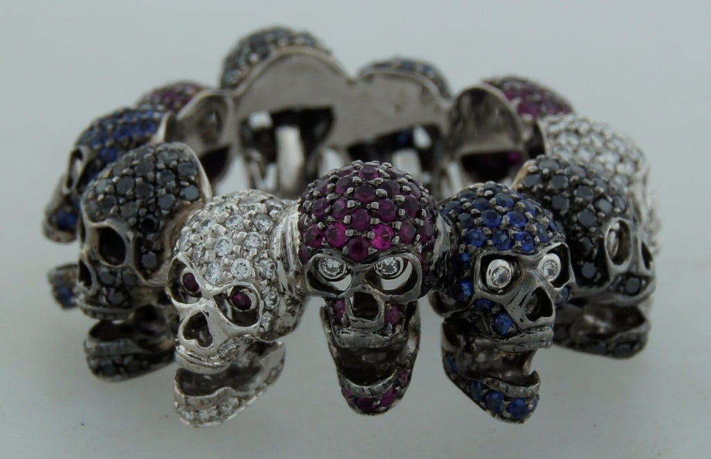 Deakin & Francis Diamond Ruby Sapphire & White Gold Skull Ring 2