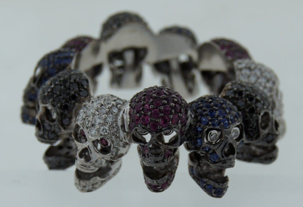 Deakin & Francis Diamond Ruby Sapphire & White Gold Skull Ring 3