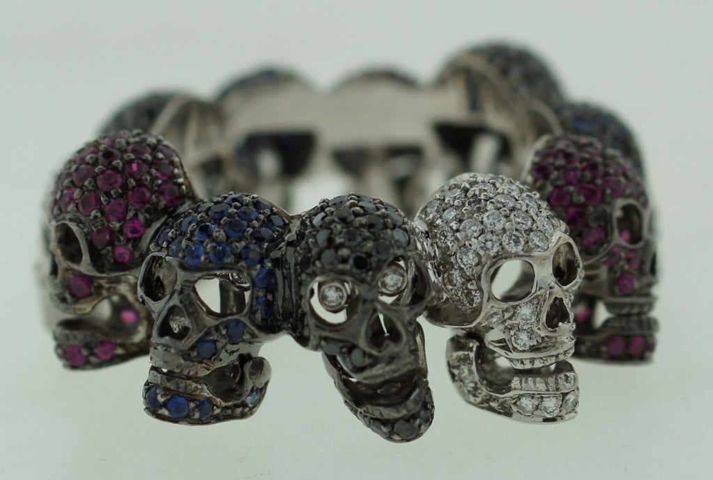 Deakin & Francis Diamond Ruby Sapphire & White Gold Skull Ring 4