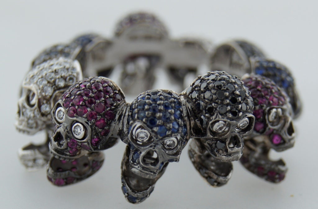 Deakin & Francis Diamond Ruby Sapphire & White Gold Skull Ring 5