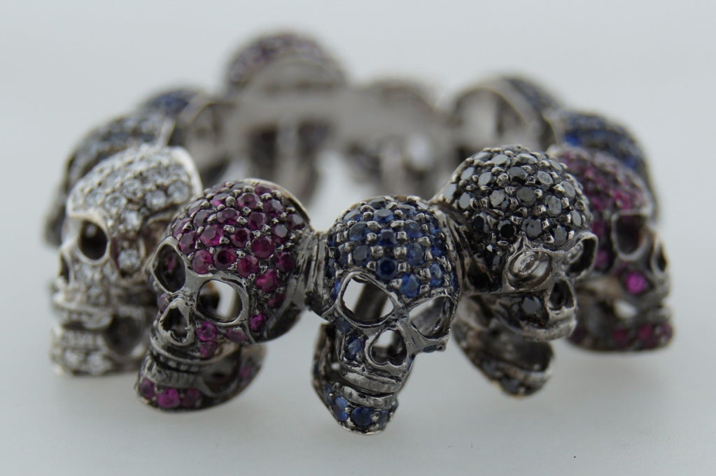 Deakin & Francis Diamond Ruby Sapphire & White Gold Skull Ring 6