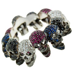 Deakin & Francis White Gold Skull Ring with Diamond Ruby Sapphire