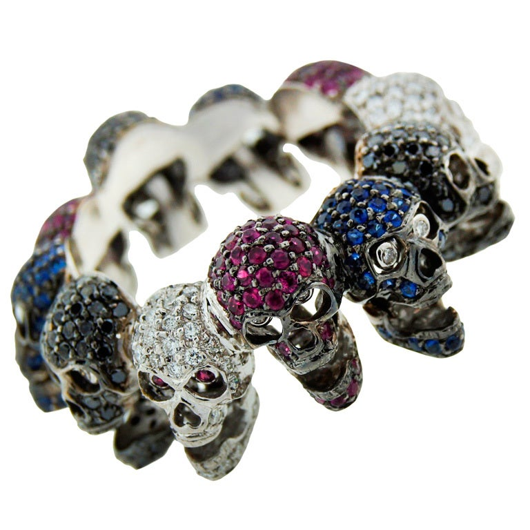Deakin & Francis White Gold Skull Ring with Diamond Ruby Sapphire For Sale