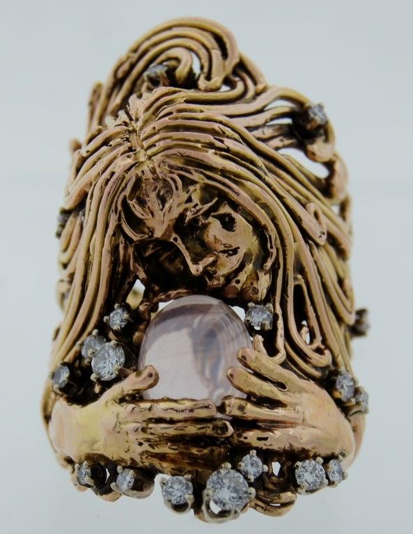 Art Nouveau Moonstone Diamond Rose Gold Ladies Ring by Jane Voorhees For Sale