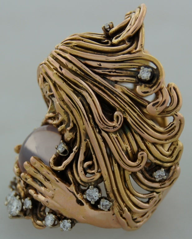 Women's Moonstone Diamond Rose Gold Ladies Ring by Jane Voorhees For Sale