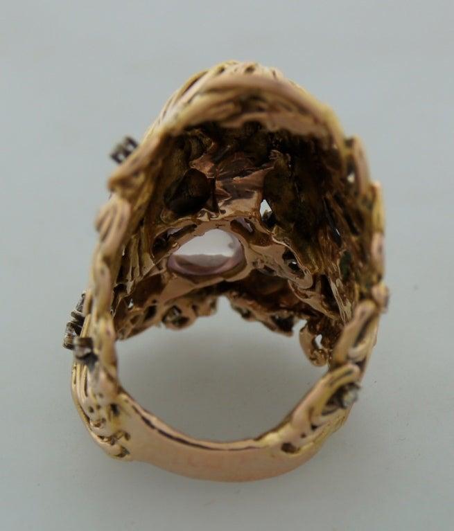 Moonstone Diamond Rose Gold Ladies Ring by Jane Voorhees For Sale 1