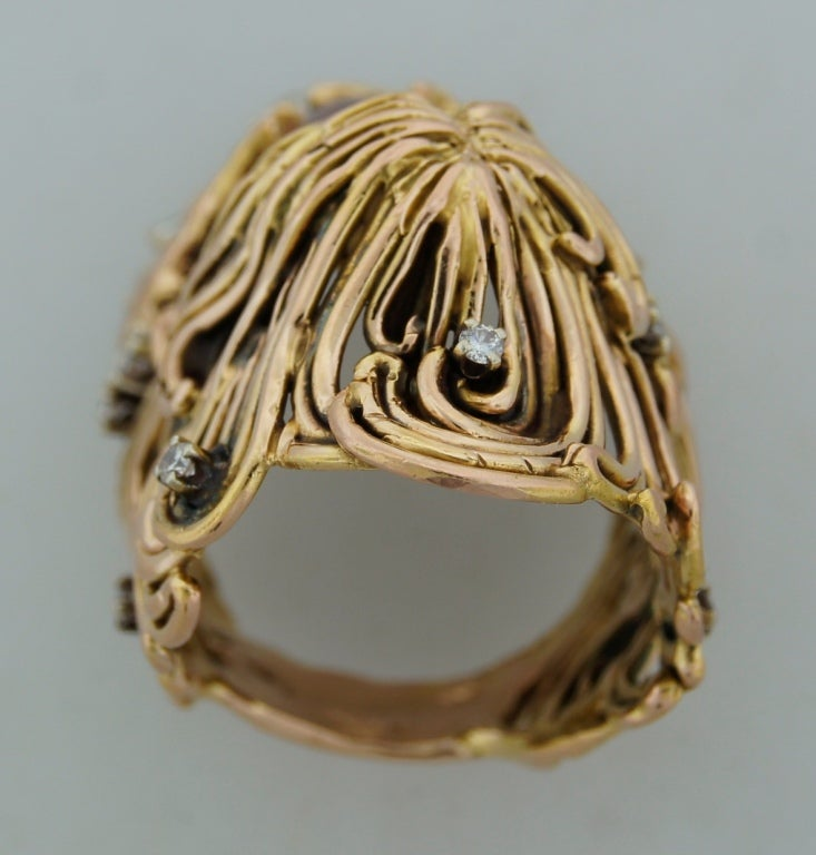 Moonstone Diamond Rose Gold Ladies Ring by Jane Voorhees For Sale 2