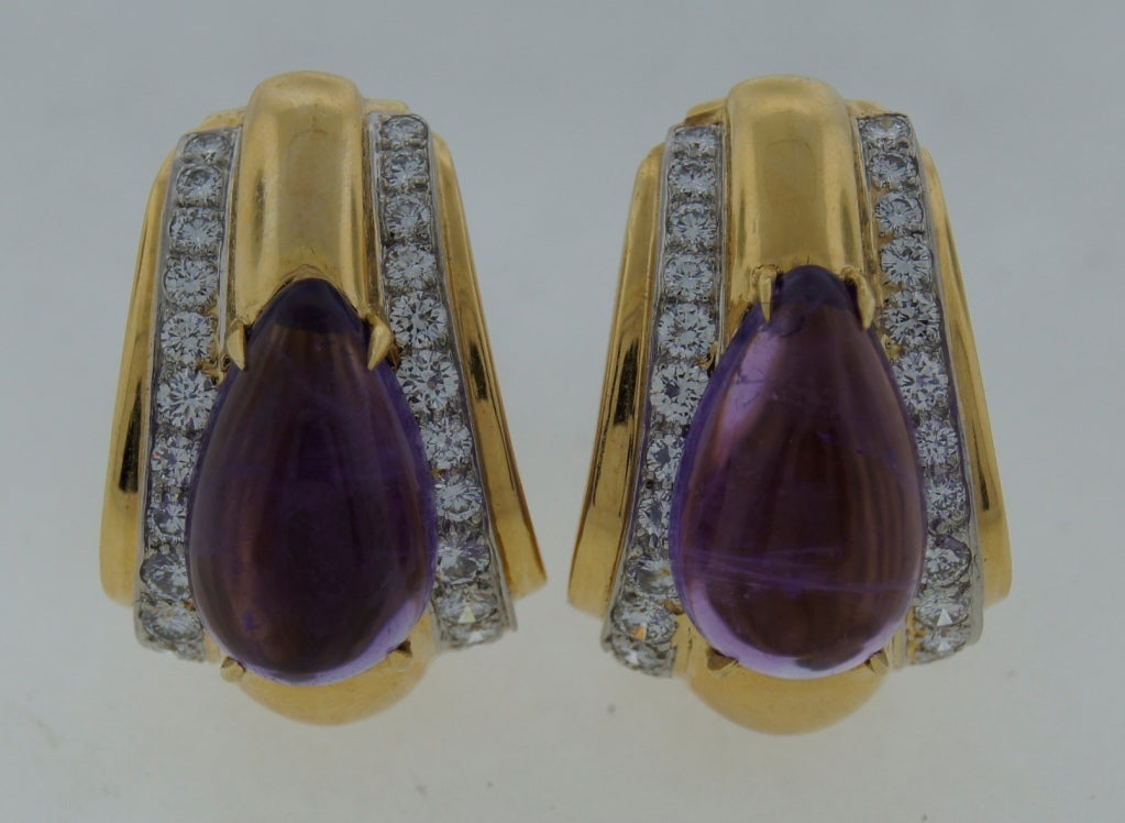 Bold yet classy earrings created by David Webb in the 1970's.