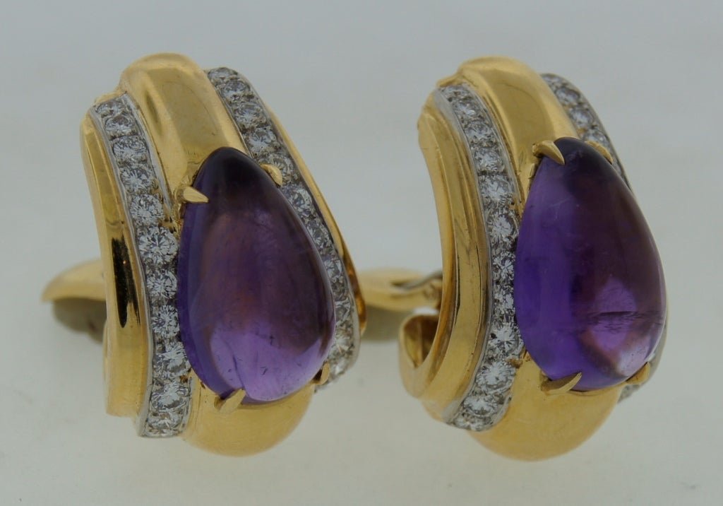 Women's DAVID WEBB Amethyst Diamond & Yellow Gold Earrings For Sale