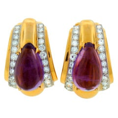 DAVID WEBB Amethyst Diamond & Yellow Gold Earrings