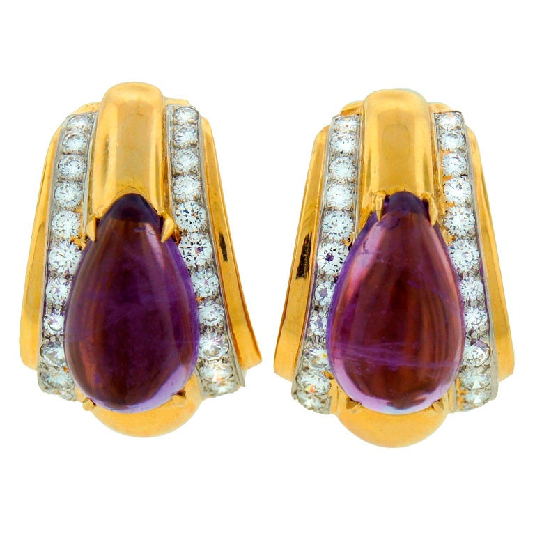 DAVID WEBB Amethyst Diamond & Yellow Gold Earrings For Sale