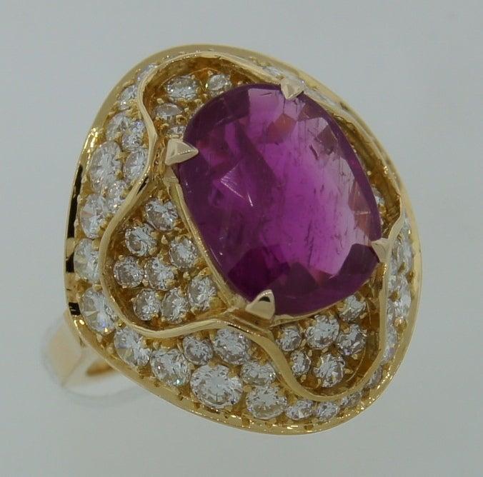 3.96-ct Burmese Ruby (Gubelin Lab Cert) Diamond Yellow Gold Ring image 2