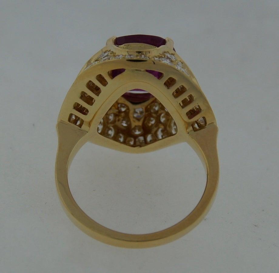 3.96-ct Burmese Ruby (Gubelin Lab Cert) Diamond Yellow Gold Ring image 5
