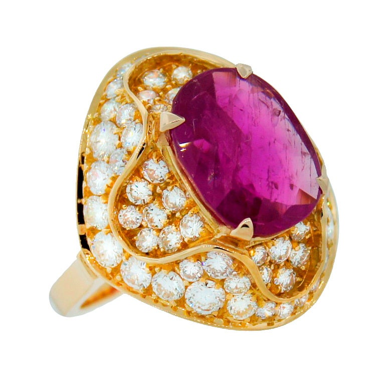 3.96-ct Burmese Ruby (Gubelin Lab Cert) Diamond Yellow Gold Ring