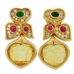 BULGARI Yellow Sapphire Gold Earrings with Diamond Ruby Emerald Bvlgari