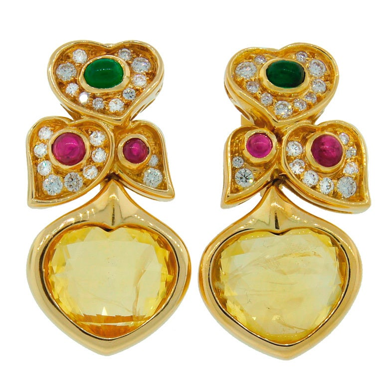 BULGARI Yellow Sapphire Diamond Ruby Emerald & Yellow Gold Earrings