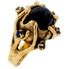 Star Black Sapphire Blue Sapphire & Yellow Gold Ring