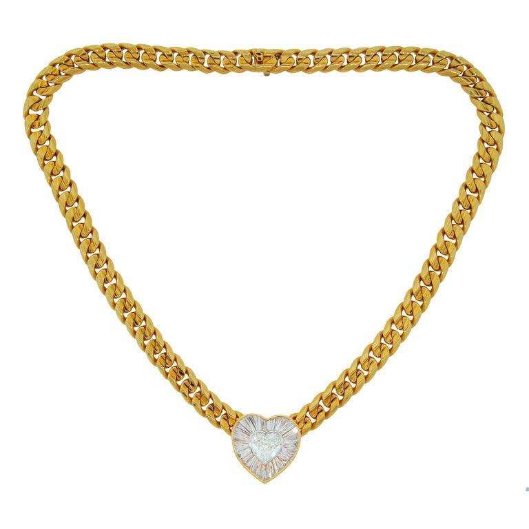 BULGARI Diamond Heart & Yellow Gold Necklace