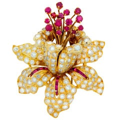 RENE BOIVIN  Diamond Ruby & Yellow Gold Tremblant Brooch Pin