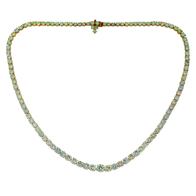 Harry Winston Diamond Yellow Gold Riviere Necklace