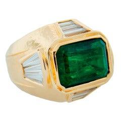 1970's David Webb Emerald Diamond & Yellow Gold Ring